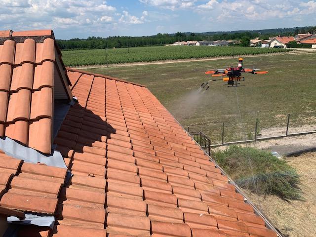 Démoussage toiture Bordeaux drone